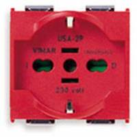 2P+E 16A universal outlet red